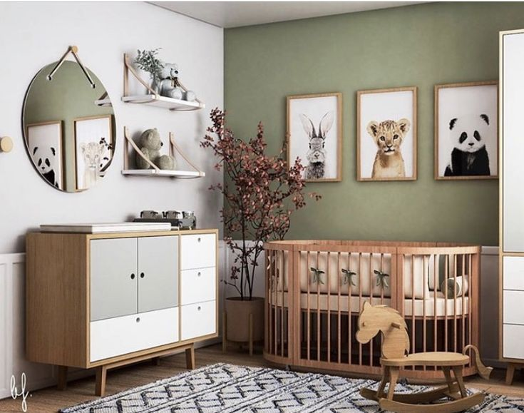 Eco-friendly nature inspired nursery decor.