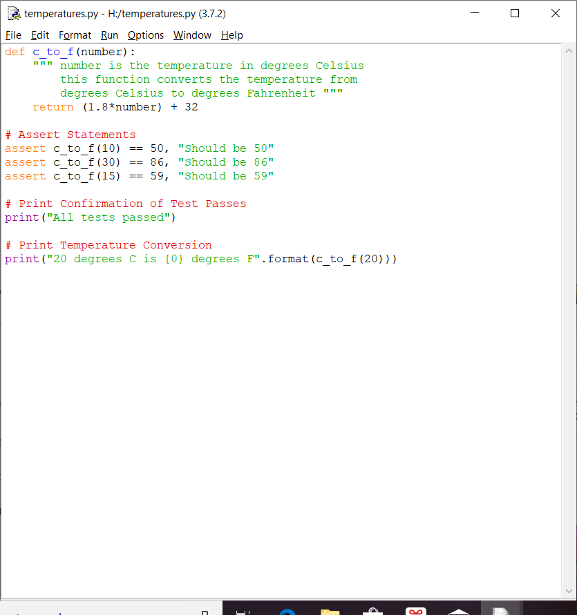 Python Code For Converting Temperature From Degrees Celsius To Degrees Fahrenheit Assert Statements For Tests Printing Of Temper Coding Statement Converter
