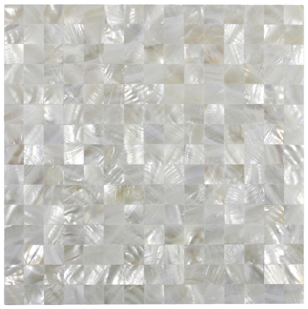 White square groutless pearl shell tile shell squares and pearls white square groutless pearl shell tile dailygadgetfo Choice Image