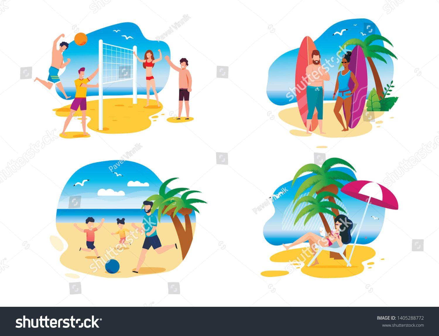 Family And Friends Summer Activities On Beach Cartoon People Playing Volleyball And Football On Sand R Cartoon People Summer Activities Business Icons Design