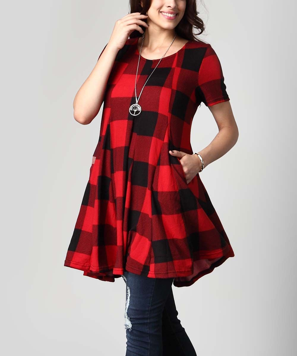 ecf98906355 Reborn Collection Red Buffalo Check Swing Tunic Dress - Plus | zulily