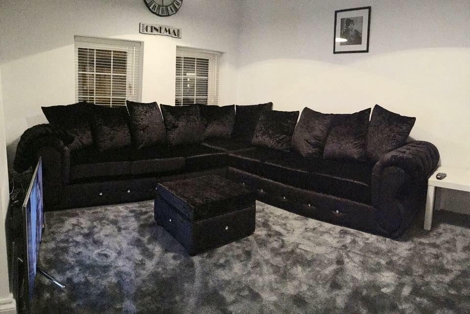 Corner 899 Chesterfield Crushed Velvet 6 Seat Corner Set In Silver Traditional But Modern Any Col Velvet Sofa Living Room Living Room Sofa Black Velvet Sofa