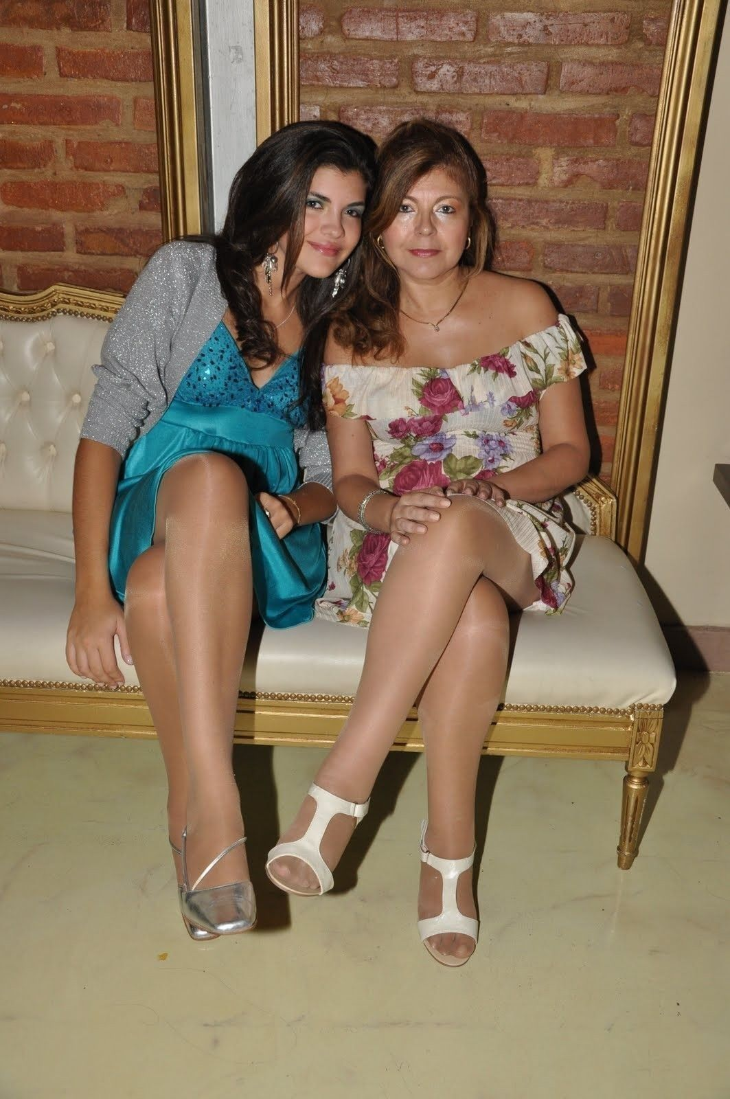 Pantyhose Two feet women mature