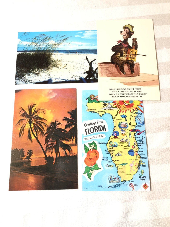 Florida Postcard State Of Florida Map Postcard Florida Etsy Map Of Florida Postcard Vacation Trips