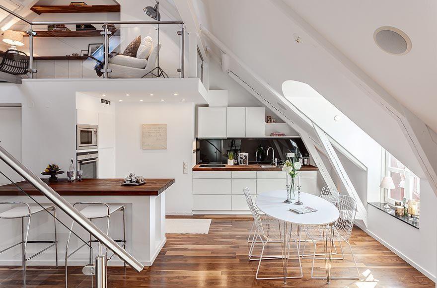 Einrichtungsideen Dachschrägen Ein Appartement in Stockhom - einrichtungsstile ideen