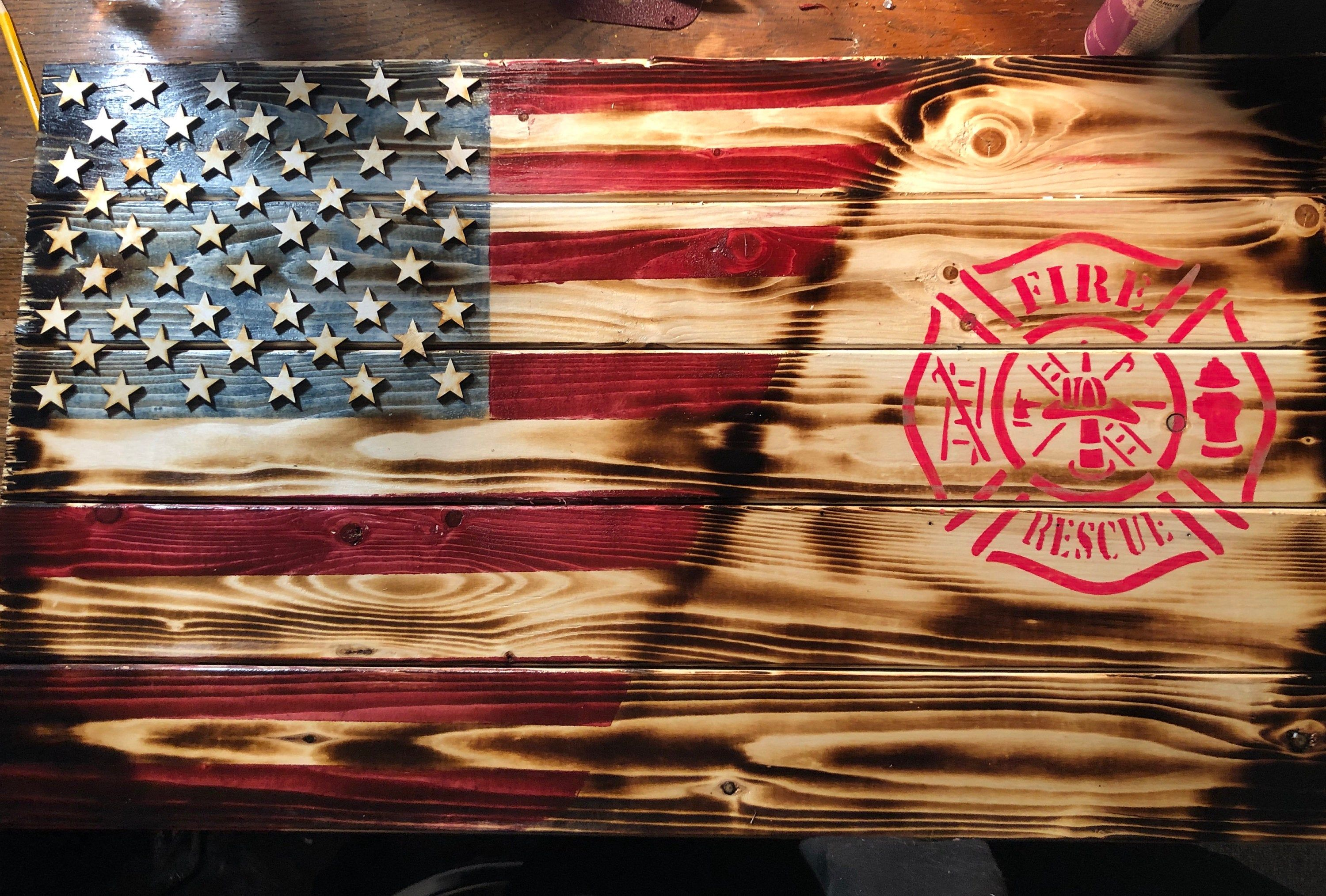 Usa Fire Rescue Wood Burned Stained Handprinted Flag Decor By Icalaverainc On Etsy In 2020 Rescued Wood Wood Flag Diy Diy Wood Pallet Projects