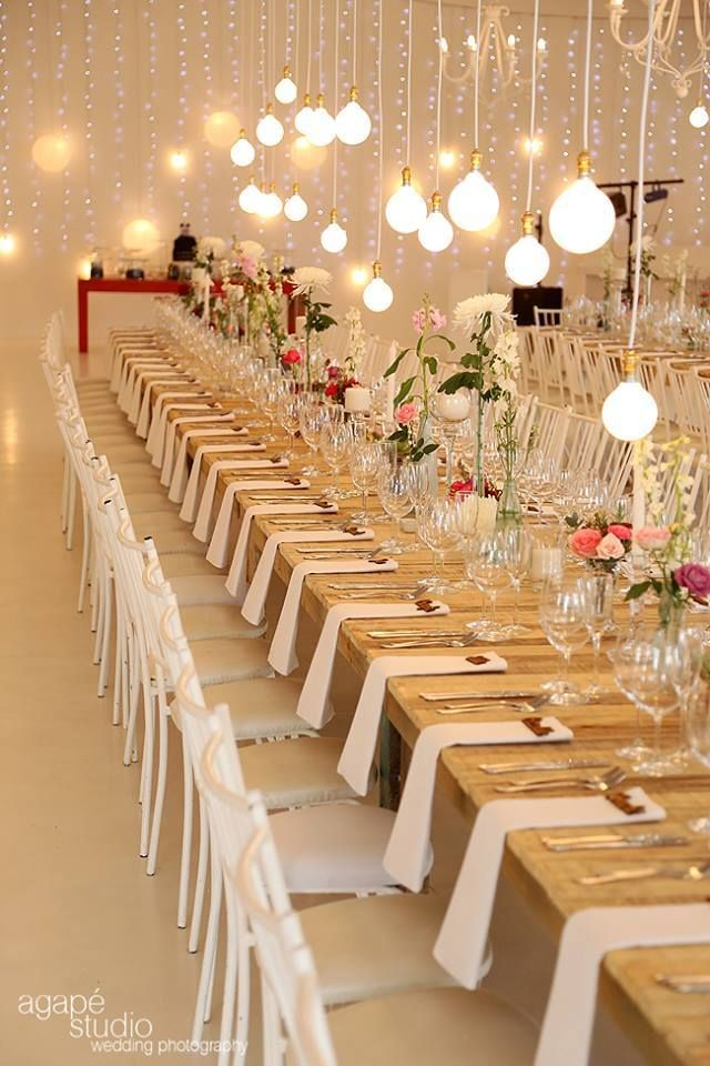 Possibly Set Tables Without Plates As The Food Truck Is Outside Wedding Table Settings Table Decorations Wedding Table