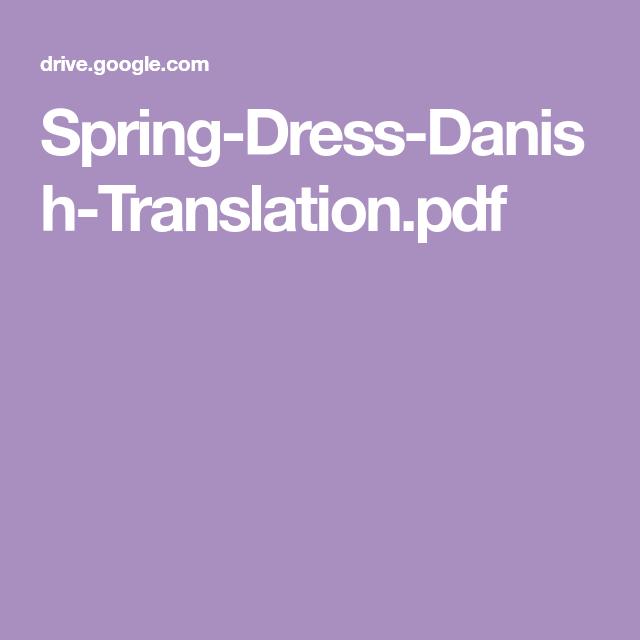 Spring Dress Danish Translation Pdf Gul Kjole Kjole Haekle