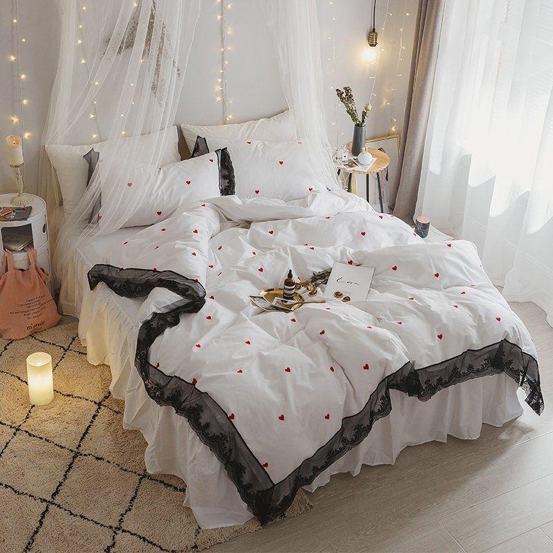Elegant Girls Black White And Red Love Heart Print Vintage Lace Design Romantic Feminine Feel Full Queen Size Bed Duvet Cover Sets White Bed Set Lace Bedding