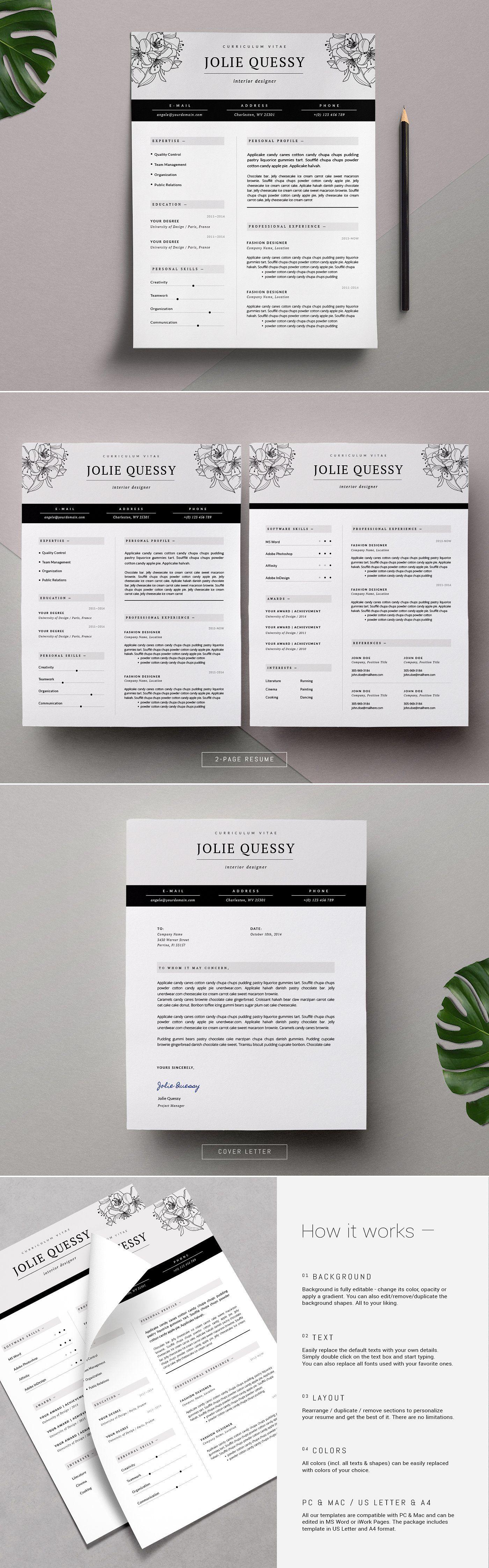 Feminine Resume Template / Jolié Creative resume