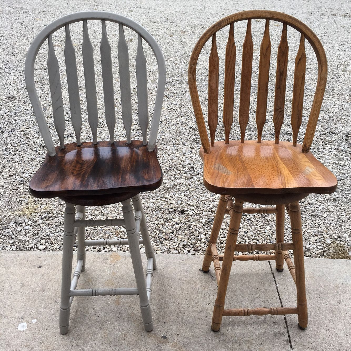 Plain Light Oak Bar Stools Transformed I Used Spray Paint Pebble From Ace And A Dark Walnut Stain