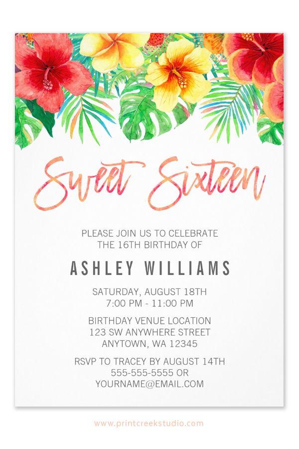 Tropical Watercolor Flowers Sweet 16 Invitation | Pinterest | Sweet ...