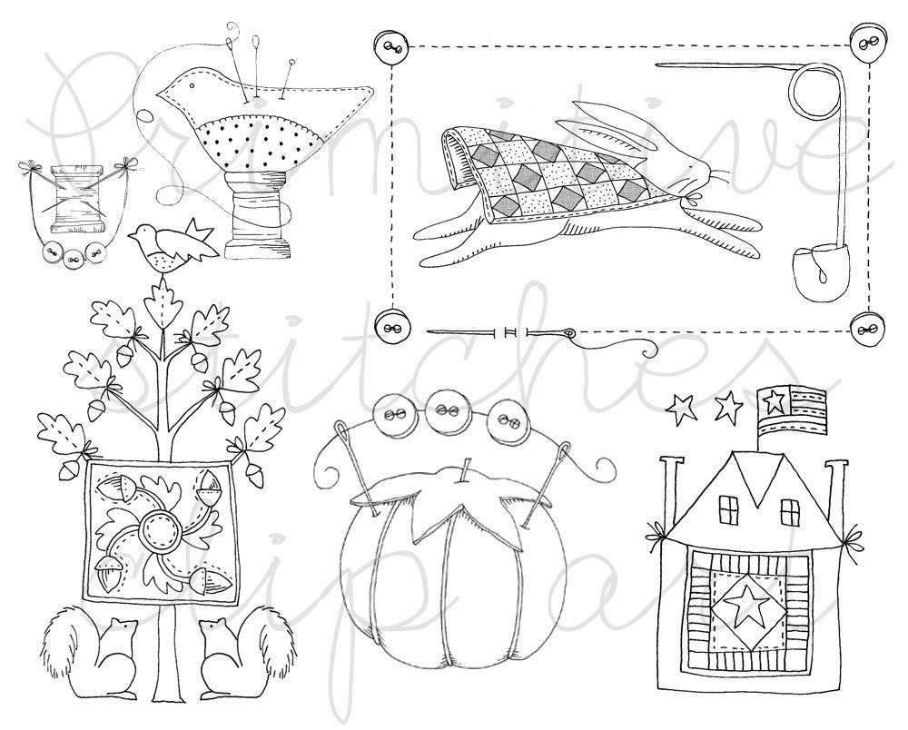 Quilt and sewing black and white clip art digital download
