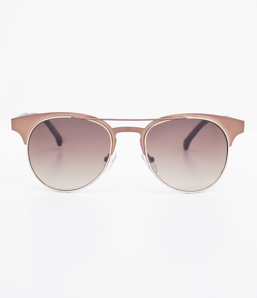 491041c86 Óculos de sol Modelo redondo Hastes em acetato veludo Lentes marrom degradê  Proteção contra raios UVA