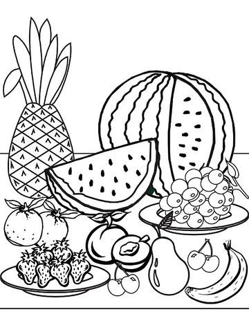 Printable Summer Coloring Pages  Fruit coloring pages, Kids