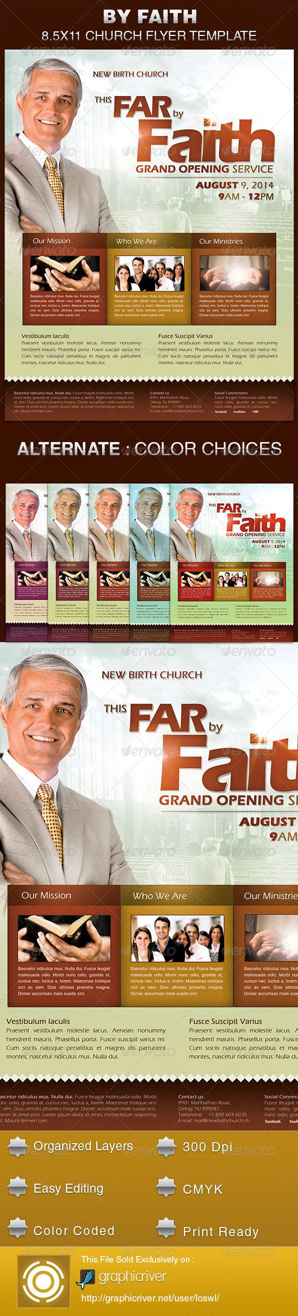 By Faith Church Grand Opening Flyer Template Is Sold Exclusively On Graphicriver It Can Be Used For Your Celebrations