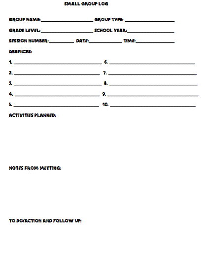 Forms Every Counselor Needs Individual Case Notes Small Group