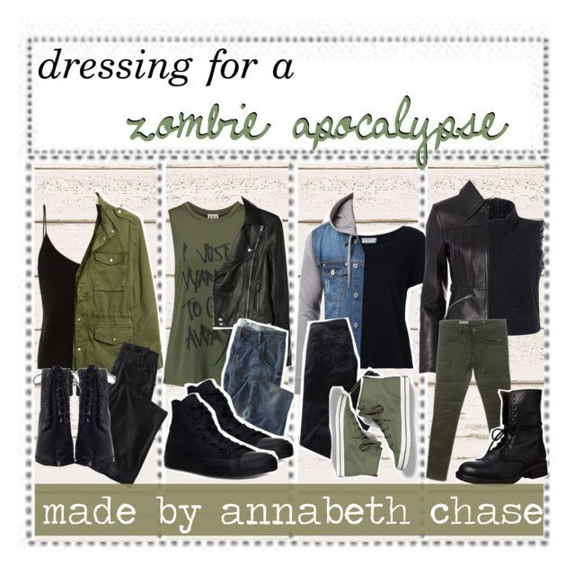 """""""☾; dressing for a zombie apocalypse   annabeth chase"""" by fandom-squad ❤ liked on Polyvore featuring T By Alexander Wang, Gap, Wrap, Zimmermann, Haute Hippie, Paige Denim, Converse, Frame Denim, Pierre Balmain and Keds"""