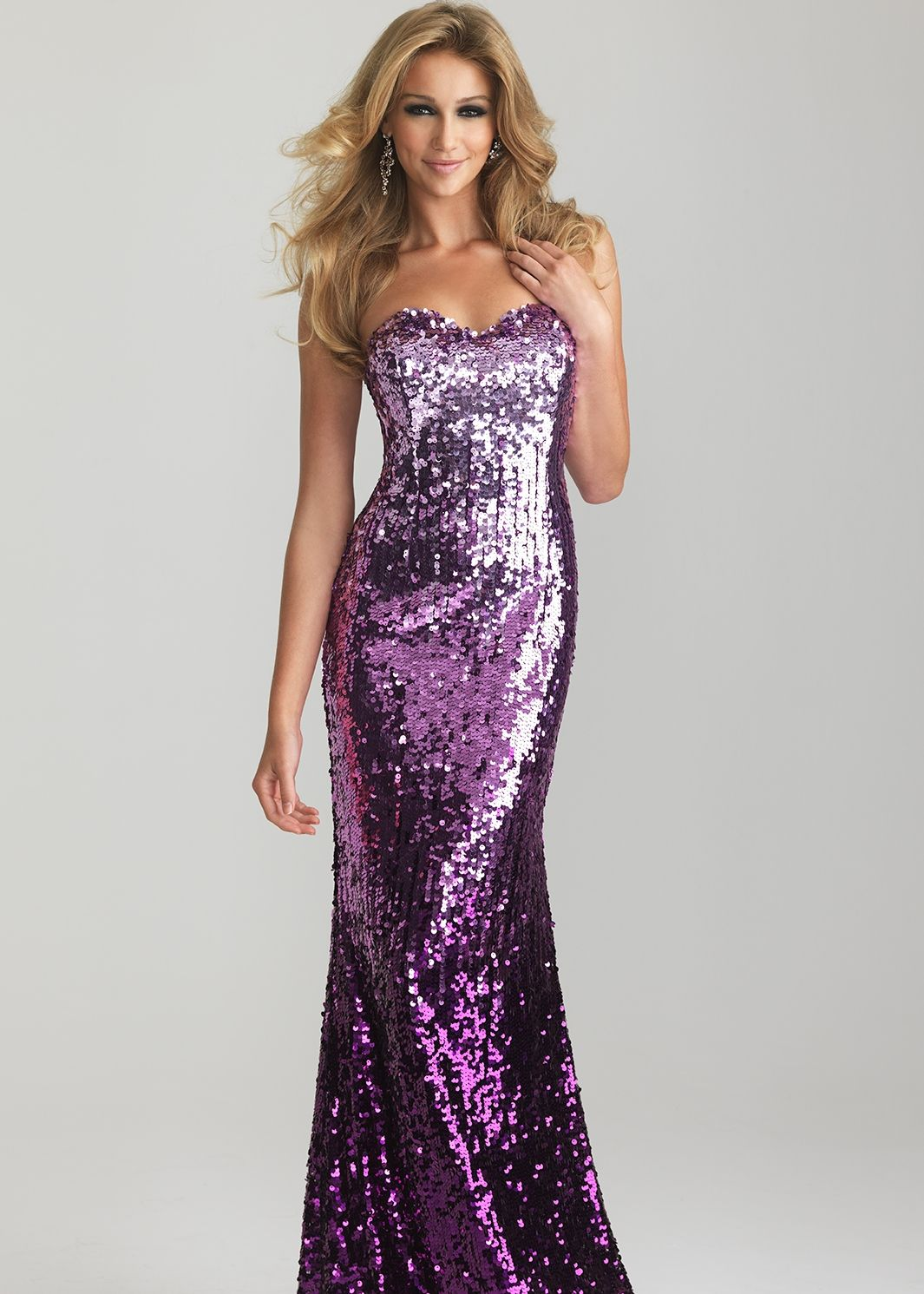 Sparkly Sequin Purple Ombre Gown - Night Moves Prom Dresses 6627 ...