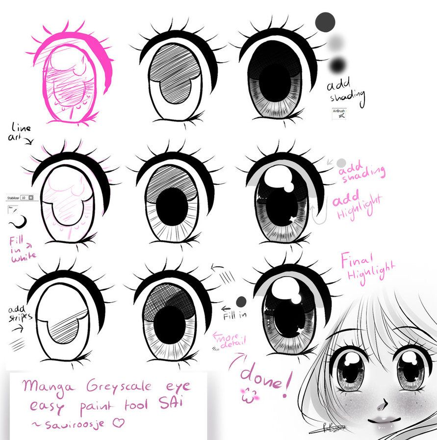 Step by Step Manga Shoujo Eye TUT by Saviroosje on