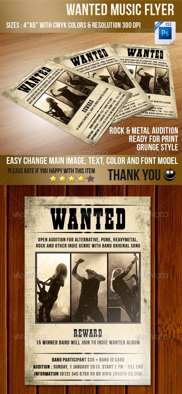 wanted music flyer graphicriver wanted music flyer designed for
