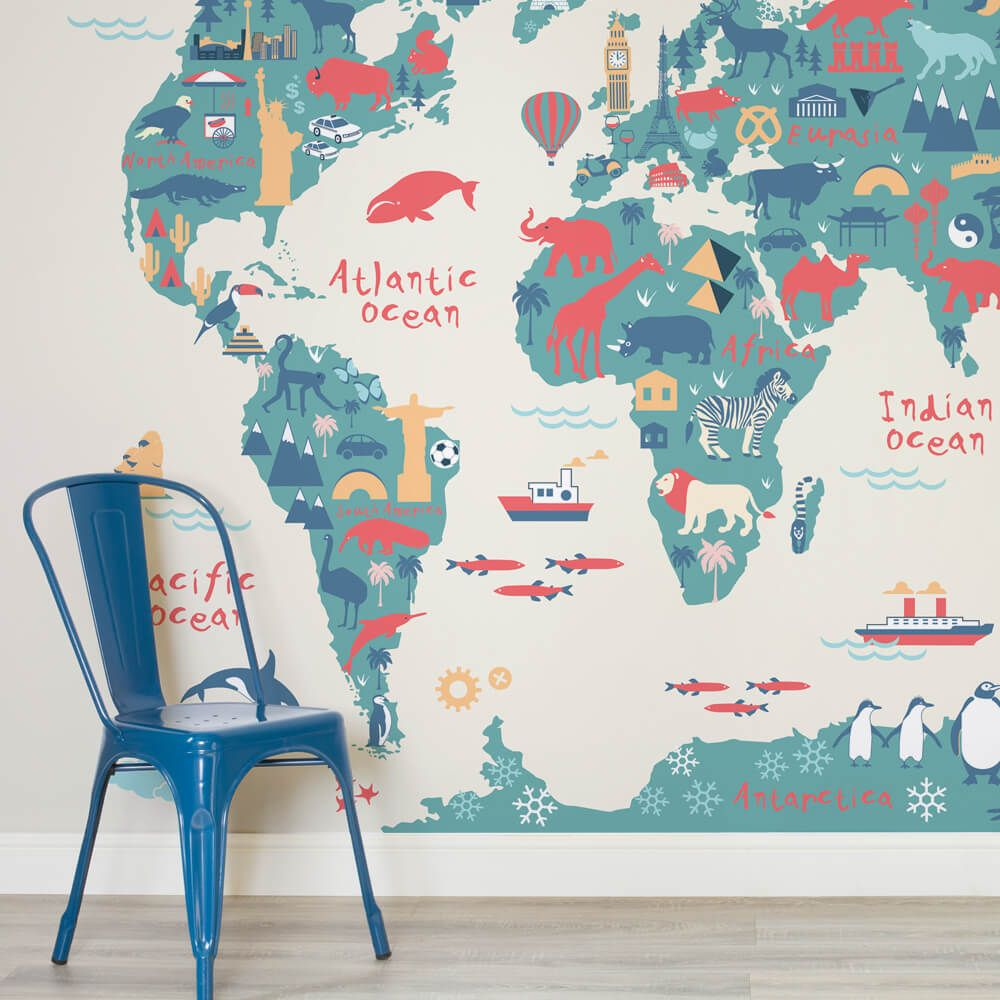 Neutral shades world map wallpaper mural explorer kids map childrens square 1 wall murals gumiabroncs Images