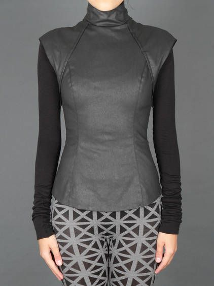 Closet Essentials / TROPICAL STORM w/ Gareth Pugh leather top with back zip and jersey sleeves
