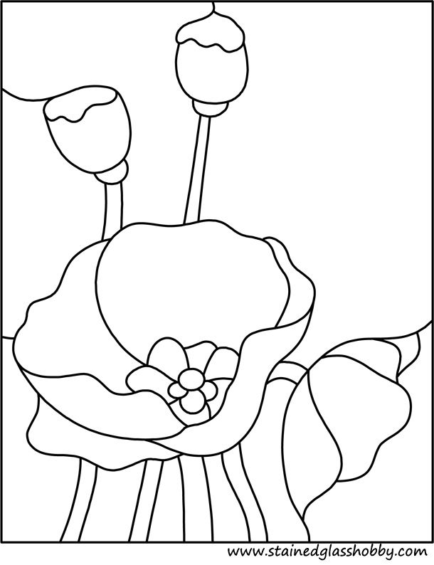 Flower poppy stained glass pattern | stained glass ...