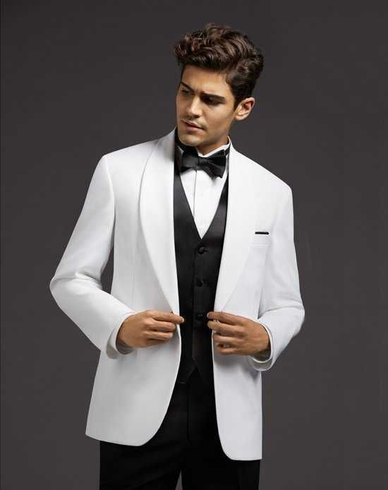 Men\'s Wearhouse White Shawl Lapel Dinner Jacket Wedding Tuxedos + ...