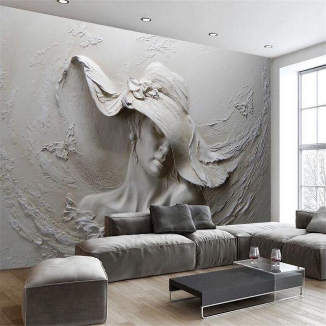 Custom 3D Photo Wallpaper 3D Stereoscopic Retro Sculpture Statue Art Wall