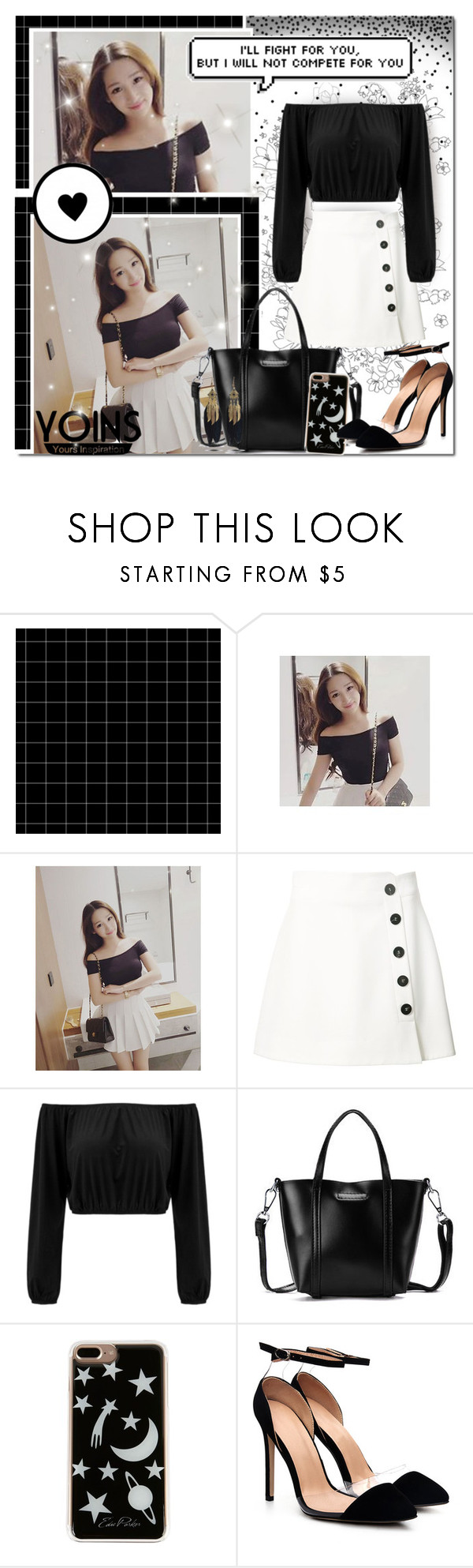 """""""Dark, Classic White Beauty // Yoins"""" by angelstylee ❤ liked on Polyvore featuring Misha Nonoo, Edie Parker, yoins, yoinscollection and loveyoins"""
