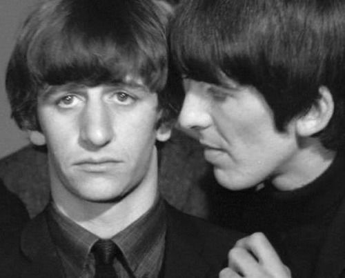 Ringo is unaffected by George's uncomfortably close stare. He's just that good of a friend, I guess.