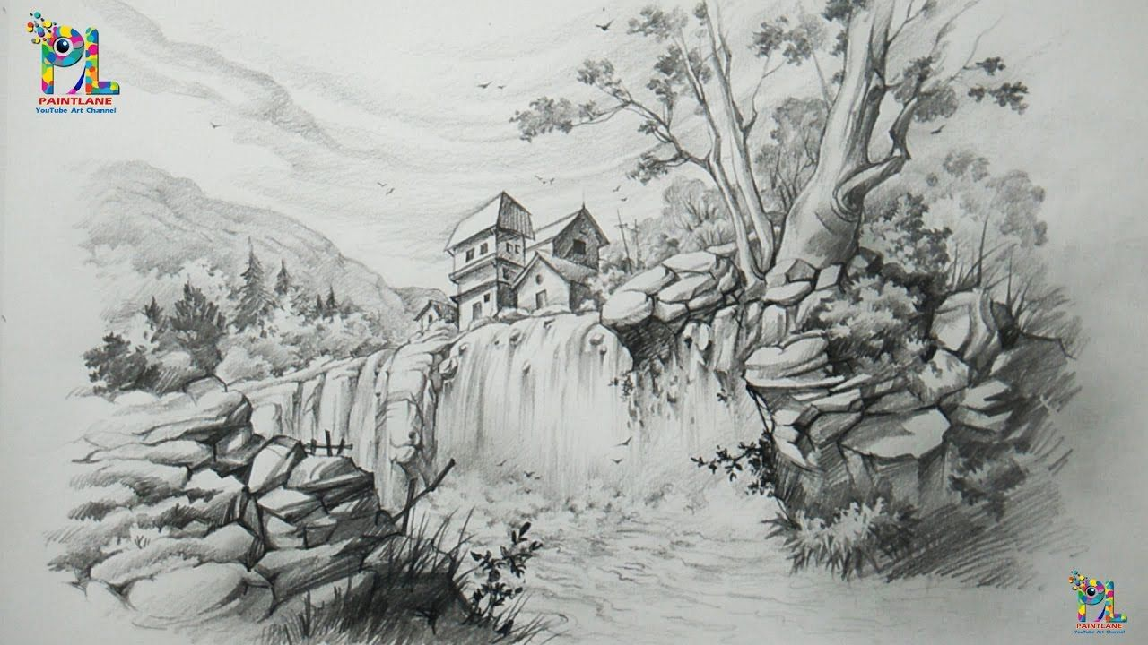 How to draw a landscape with waterfall with pencil
