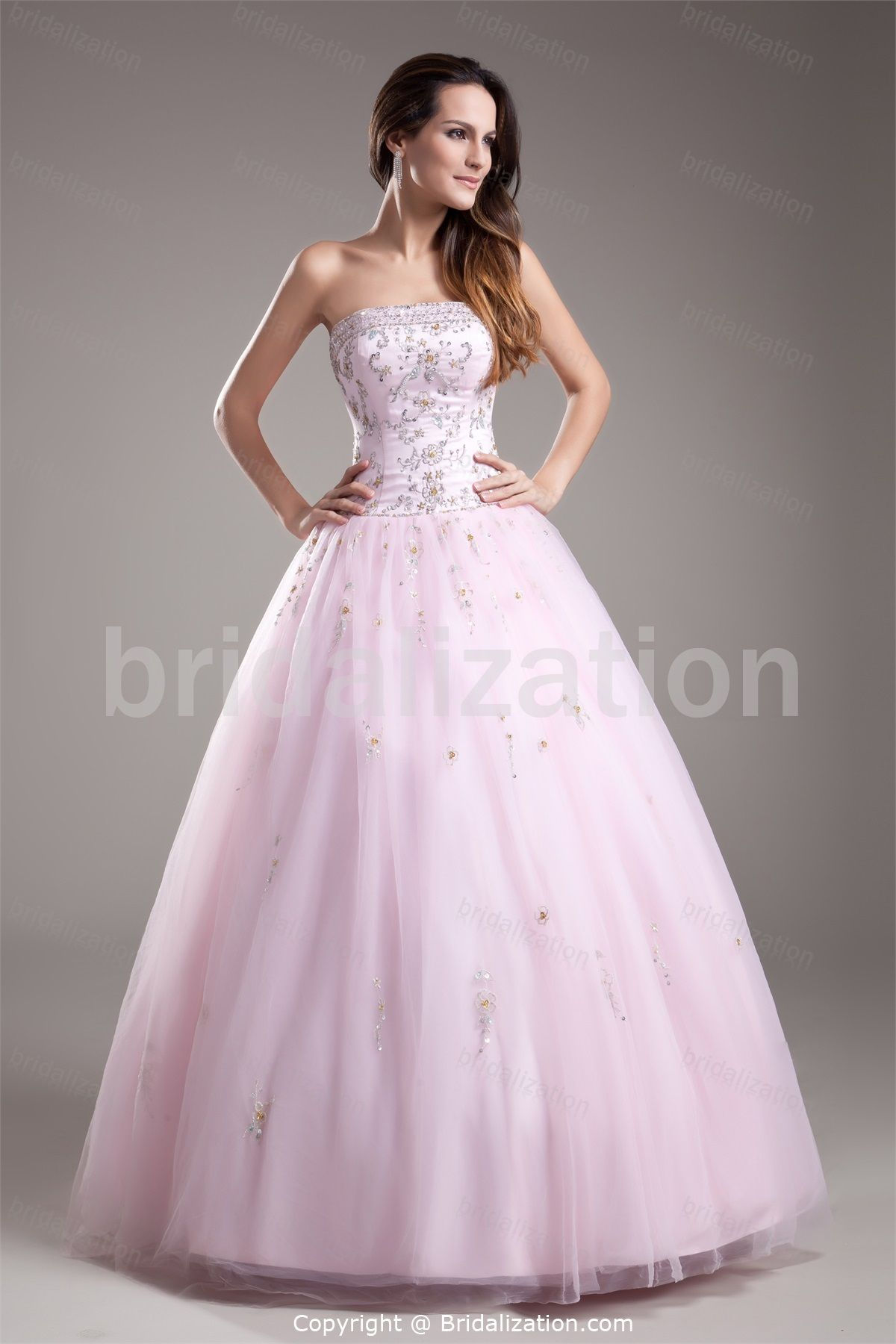 Light Pink Ball Gown Floor-Length Sleeveless Prom Dress -Special ...