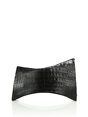Nancy Gonzalez Angular Crocodile Clutch - Black - Size No Size