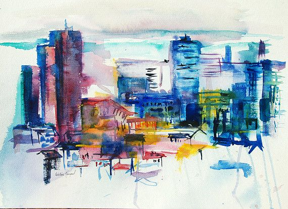 Original Watercolor Of A City In France Painting Of A City In