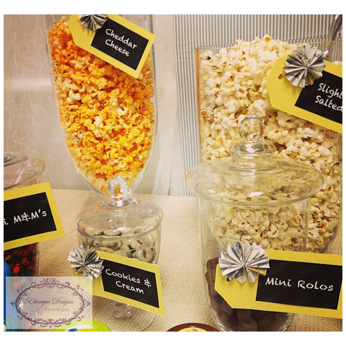 Baby Shower Popcorn Bar Elenique Designs Real Parties Pinterest
