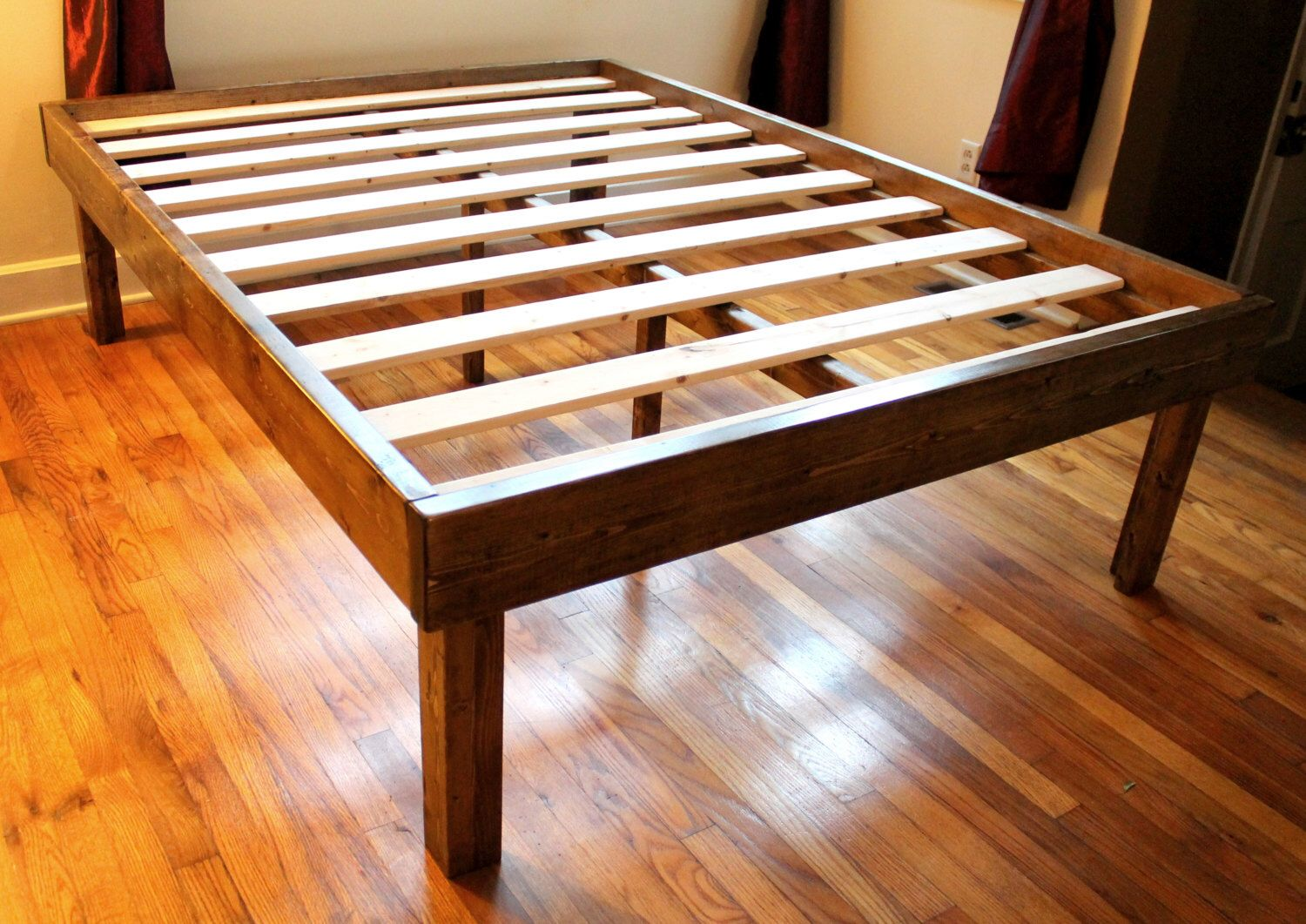 Rustic Wood Minimalist Bed Frame Twin Full Queen King by