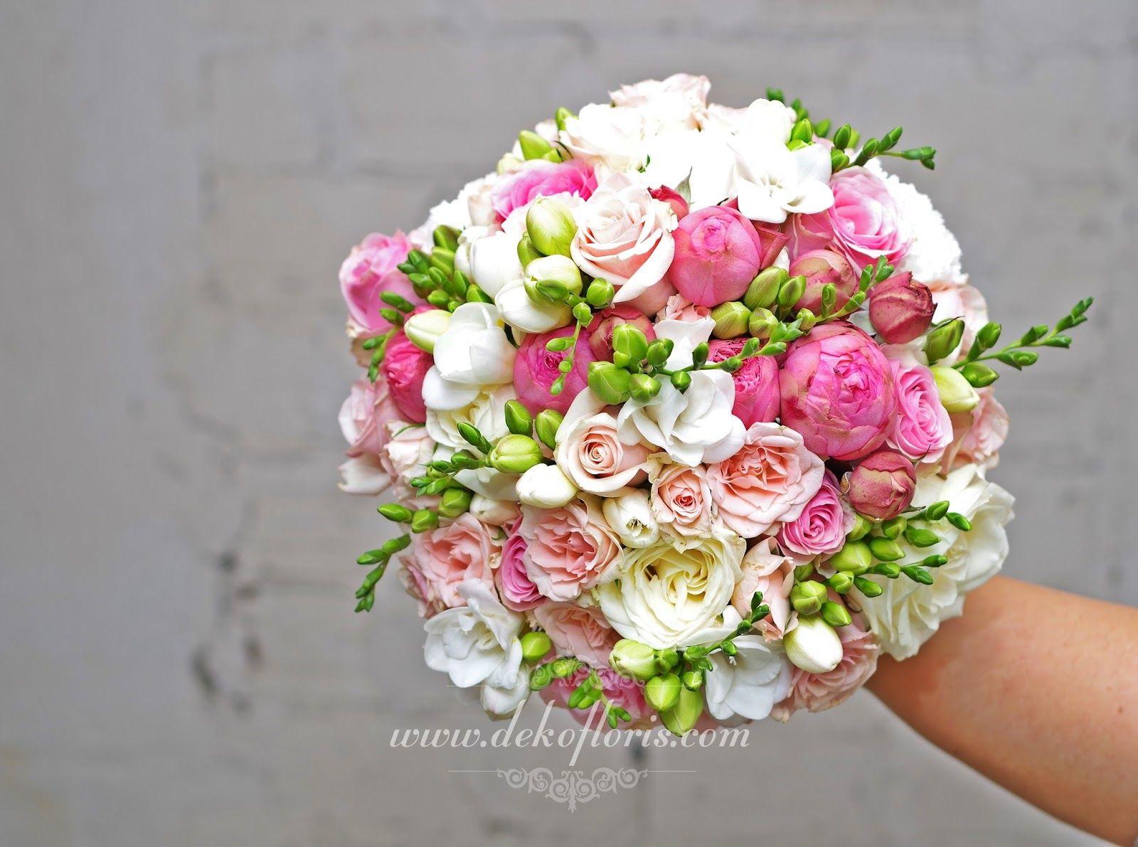 różowy bukiet ślubny roze frezje gozdziki - Szukaj w ...
