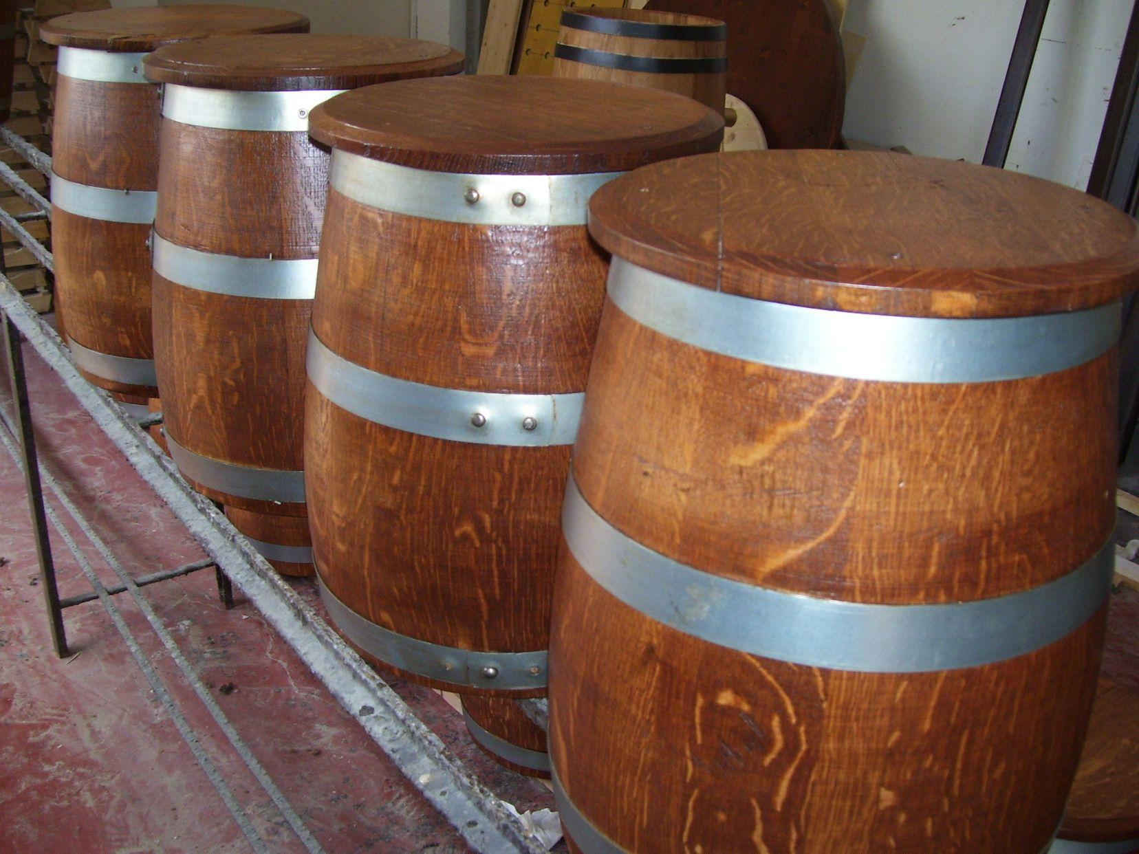 Sgabelli a fungo da tronco di botte in rovere usata