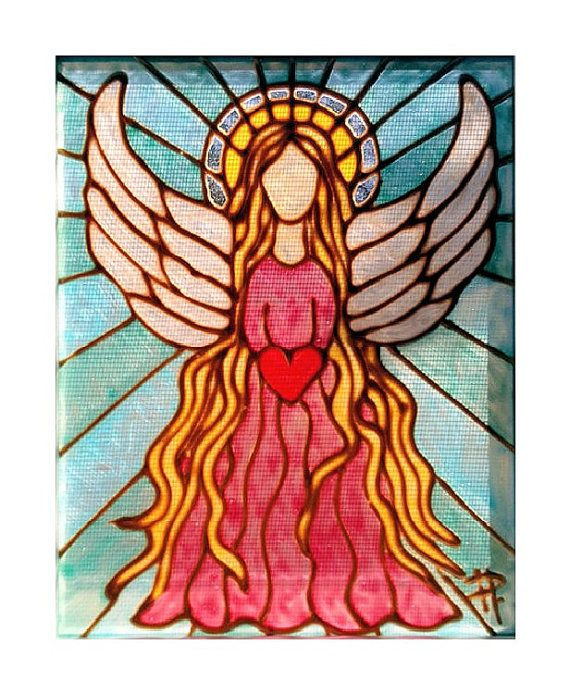 Handmade Painted Stained Glass Angel Picture