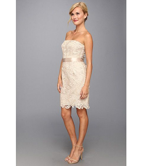 Adrianna Papell Strapless Lace Sheath Champagne - Zappos.com Free ...