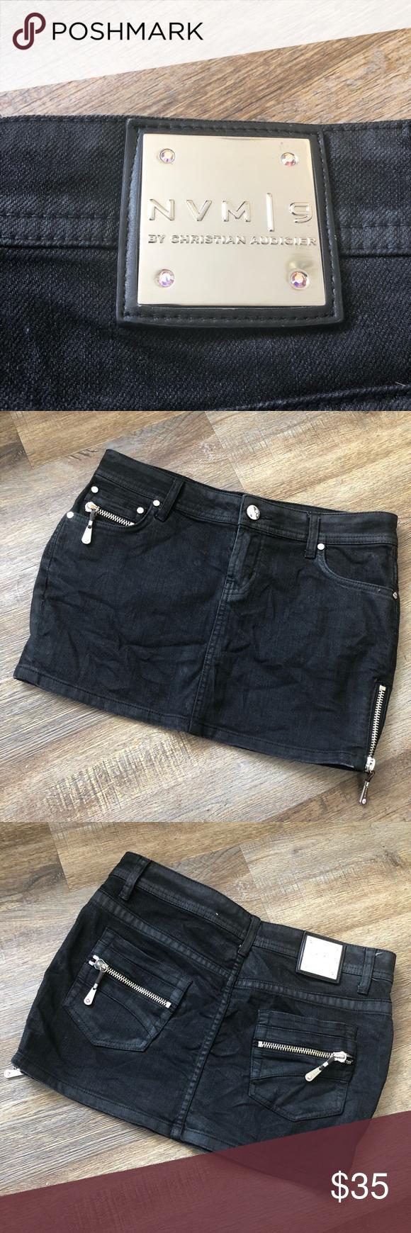 Black mini skirts size 28 Nvm 9 By Christian Audigier Black Mini Skirt Black Mini Skirt Mini Skirts Black Mini