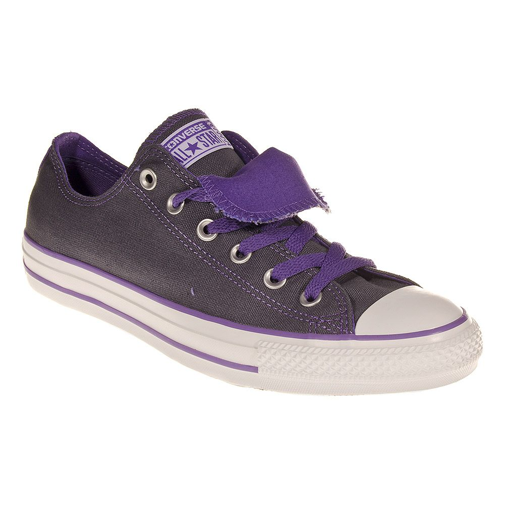 Converse All Stars Double Tongue Admiral Hollyhock Shoes (Grey/Purple)