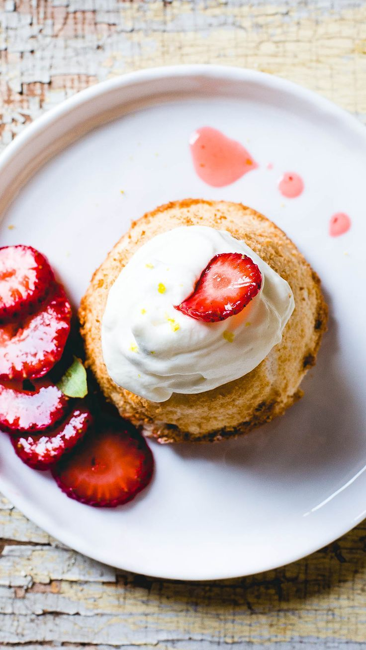 Mini Gluten Free Angel Food Cakes with Strawberries