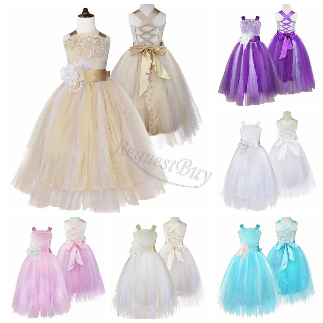 Baby Kid Girls V-back Satin Birthday Wedding Party Formal Flower Girl Dress Gown