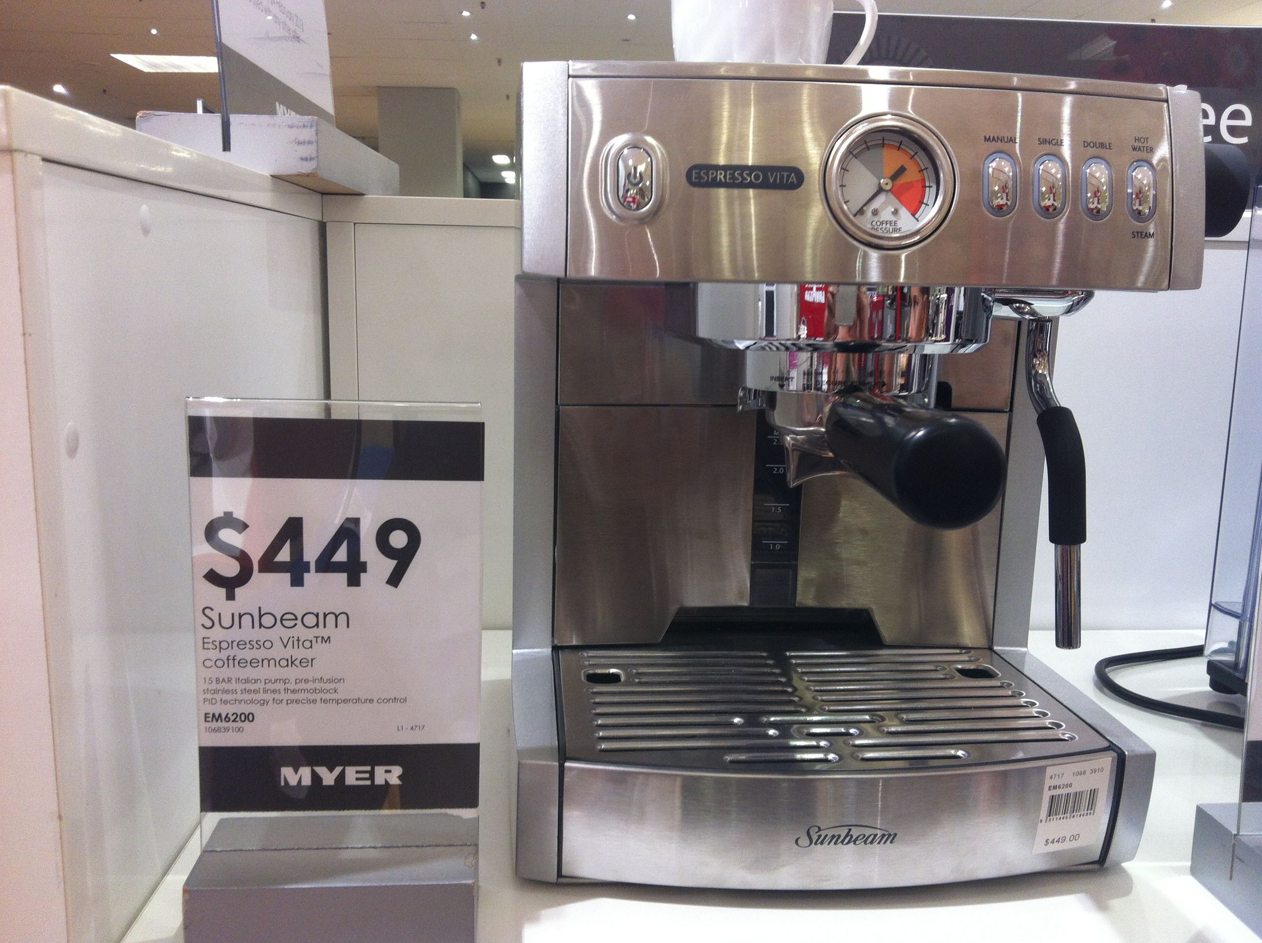 Leonie, Sunbeam Espresso Vita Coffee Machine, Myer, 449