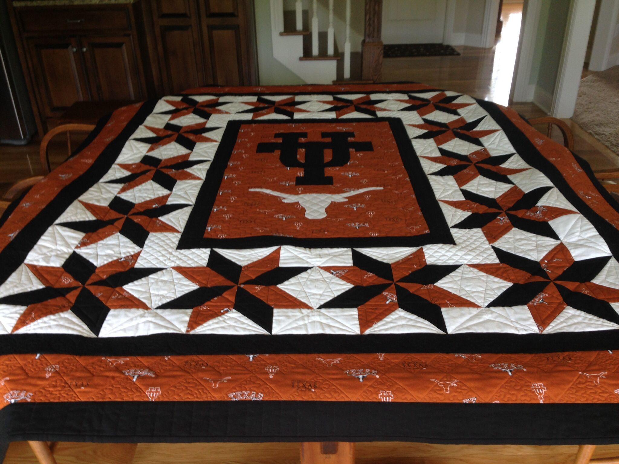 University Of Texas Quilt Beautiful Wish I Had Thought Of That Texas Quilt Football Quilt Texas University Longhorns