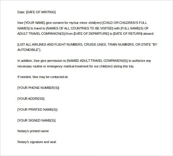 notarized letter template free word pdf documents download - permission to travel letter template