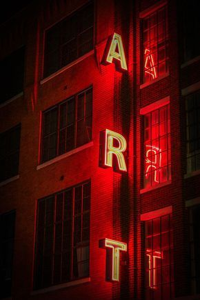 Neon sign photography, ART sign, red neon lights, reflection, urban architecture…